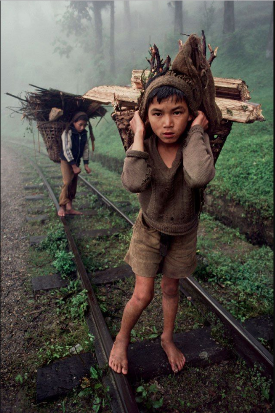 TWO YOUNG BOYS CARRY WOOD. Fuji Crystal. Limited Edition