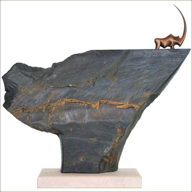 RHINO PERCHE Moyen Bronze et Marbre Noir de Belgique 66Cm / 26 inches