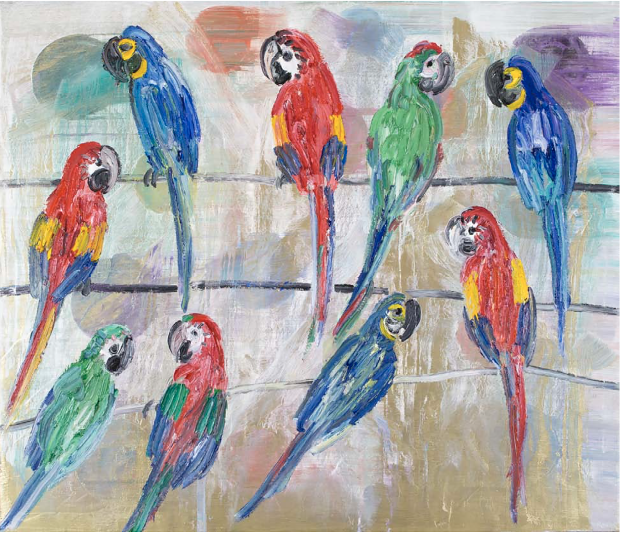 MACAWS & SCARLET Huile sur Toile 183x214 cm / 72x84 inches